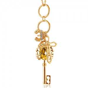 Key Pendant with Cross and Crown Charm Long Chain Fashion Jewelry Necklace