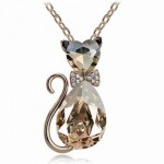 Crystal Cat Pendant Fashion Jewelry Necklace