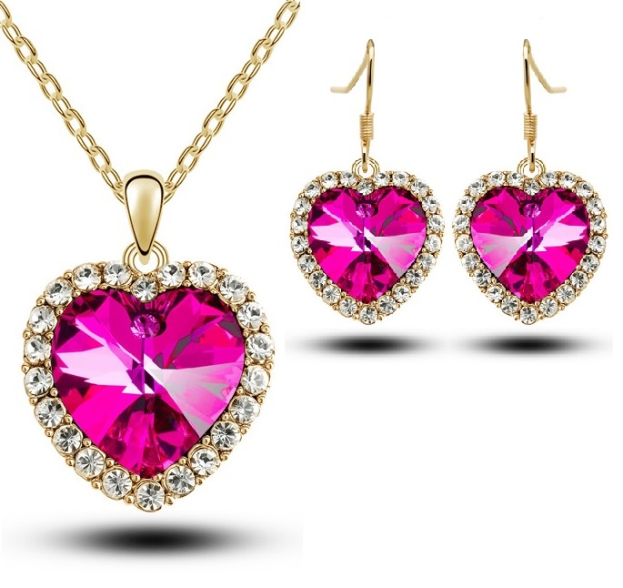4843 Heart Necklace Earring Set