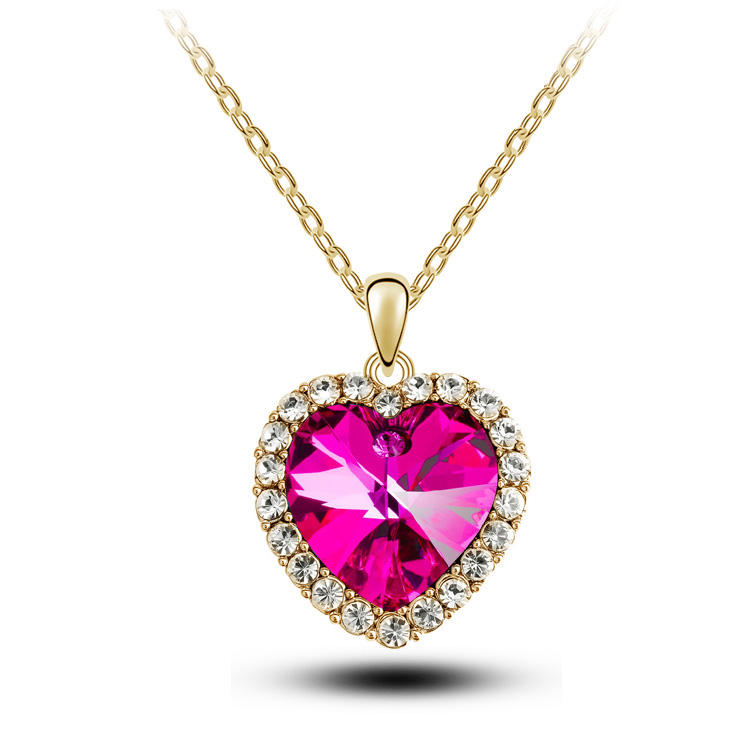 Crystal pendant heart necklace and earring set elegant value 4843 heart rose necklace aloadofball Gallery