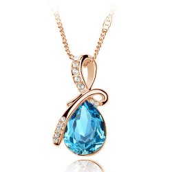 Eternal Love Angel Teardrop Crystal Pendant Fashion Jewelry Necklace