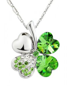 Elegant Value Four-Leaf Clover Pendant Necklace - Green Crystal