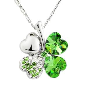 Elegant Value Four-Leaf Clover Pendant Necklace - Green Crystal