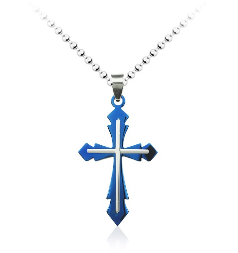 Blue cross pendant necklace fashion jewelry elegant value blue cross necklace 1 aloadofball Choice Image