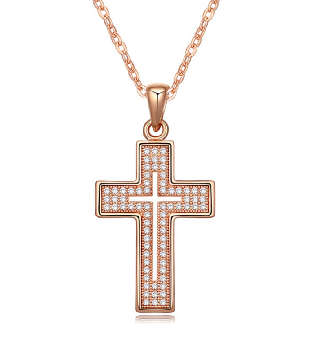 Cross Pendant Necklace Rose Gold Plated