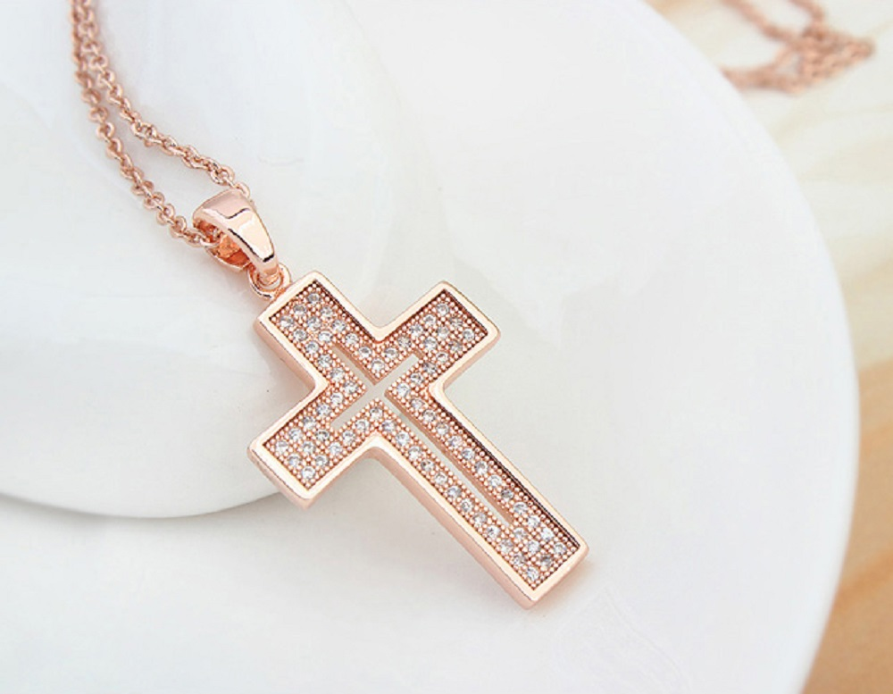 Elegant Cross Pendant Fashion Jewelry Necklace 18K Rose Gold Plated