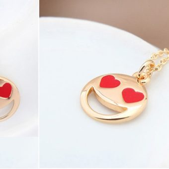 Smiley Emoji Necklace-Gold-n22883-2