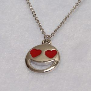 Smiley Emoji Necklace-Silver-n22884-3
