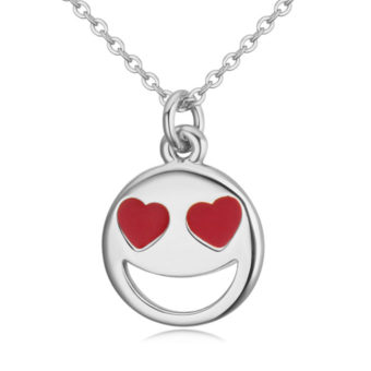 Smiley Emoji Necklace-Silver