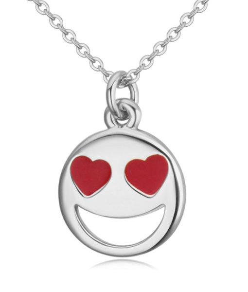 Smiley Emoji Necklace-Silver-n22884