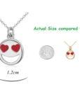 Smiley Emoji Necklace-Silver-n22884-Size