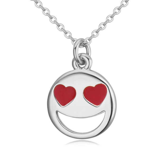 Smiley Emoji Necklace-Silver-n22884