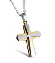 Silver-on-Gold Cross Necklace