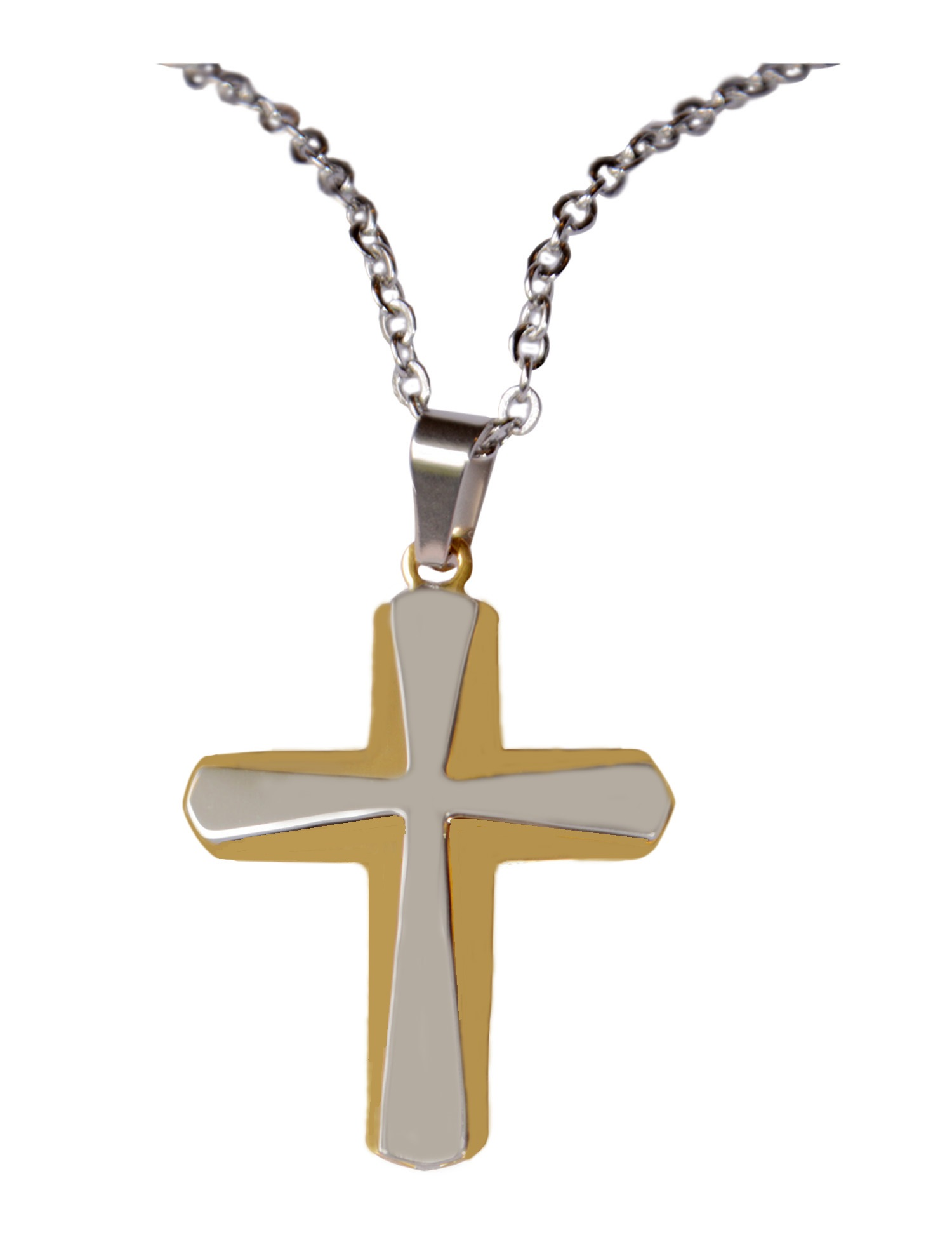0130dc099 Silver-Gold-Plated Cross Pendant Stainless Steel Necklace – Elegant ...